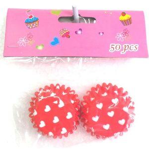 Forma para Mini Cupcak Vermelho com Corações brancos 7.5cm  - 50 unidades