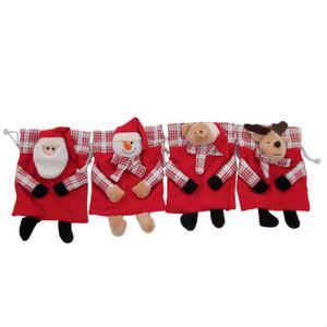 Saquinho de Natal Vermelho e Xadrez Estampa Sortida 18x14cm com