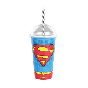 Copo Shake de Plástico 500 ml com Tampa e Canudo Superman-Branco  -Unidade
