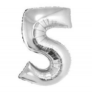 Balão Metalizado Númerico Prata com 100cm 5