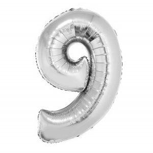 Balão Metalizado Númerico Prata com 100cm 9