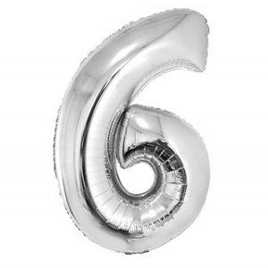 Balão Metalizado Númerico Prata com 40cm 6