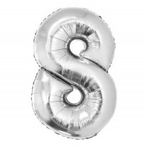 Balão Metalizado Númerico Prata com 40cm 8
