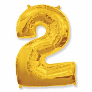 Balão Metalizado Númerico Ouro com 100cm 2