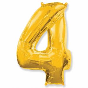 Balão Metalizado Númerico Ouro com 100cm 4