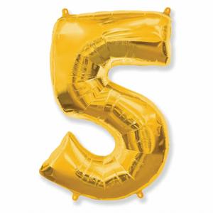 Balão Metalizado Númerico Ouro com 100cm 5