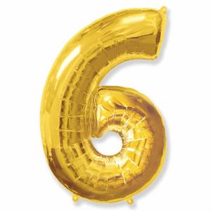 Balão Metalizado Númerico Ouro com 100cm 6