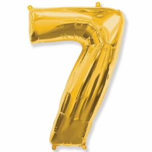 Balão Metalizado Númerico Ouro com 100cm 7