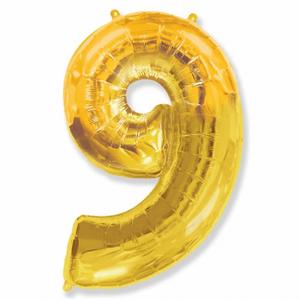 Balão Metalizado Númerico Ouro com 100cm 9