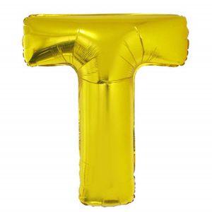 Balão Metalizado 40cm Ouro Letra T