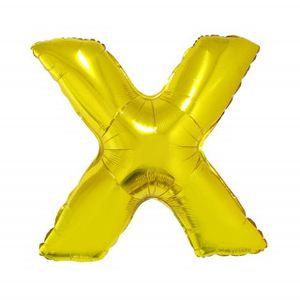 Balão Metalizado 40cm Ouro Letra X