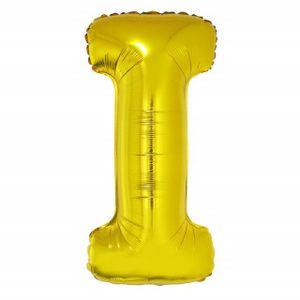 Balão Metalizado 100cm Ouro Letra I