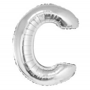 Balão Metalizado 40cm Prata Letra C