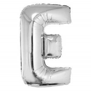 Balão Metalizado 40cm Prata Letra E