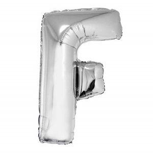 Balão Metalizado 40cm Prata Letra F