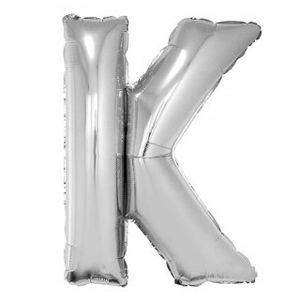 Balão Metalizado 40cm Prata Letra K