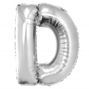 Balão Metalizado 100cm Prata Letra D