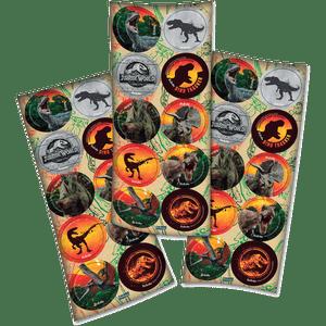 Adesivo Jurassic World com 30 Unidades em 3 Cartelas