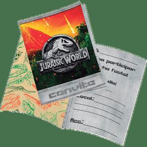 Convite decorativo Jurassic World 8 unidades