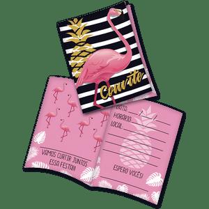Convite decorativo Flamingo 8 unidades