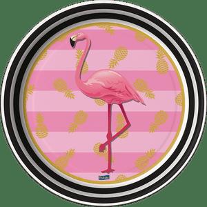 Prato de Papel Rígido Flamingo 8 unidades