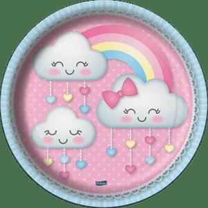 Prato de Papel Rígido Chuva de Amor 8 unidades