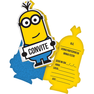 Convite decorativo Minions 8 unidades