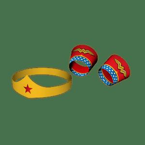 Tiara e Bracelete Cartonado Mulher Maravilha - 09 unidades