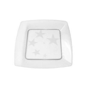 Prato Square Pequeno de Acrílico com 10 Unidades Cristal