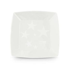 Prato Square Pequeno de Acrílico com 10 Unidades Branco