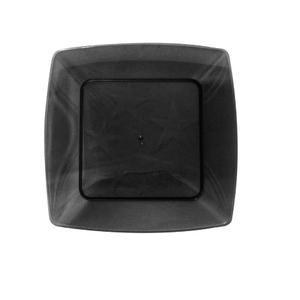 Prato Square Pequeno de Acrílico com 10 Unidades Preto