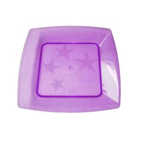 Prato Square Pequeno de Acrílico com 10 Unidades Roxo
