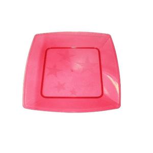 Prato Square Grande de Acrílico com 10 Unidades Vermelho