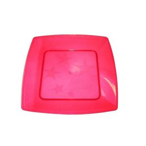 Prato Square Grande de Acrílico com 10 Unidades Pink