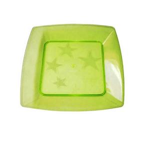 Prato Square Pequeno de Acrílico com 10 Unidades Amarelo Limão