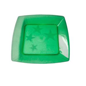 Prato Square Pequeno de Acrílico com 10 Unidades Verde Escuro