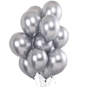 """Balão de Látex Cromado 9"""" com 25 Unidades Prata"""