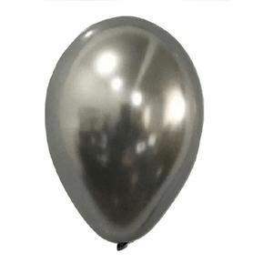 """Balão São Roque Metálico 9"""" Prata - Pacote com 25 Unidades"""