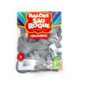 """Balão São Roque Cintilante 7"""" Prata - Pacote com 50 Unidades"""