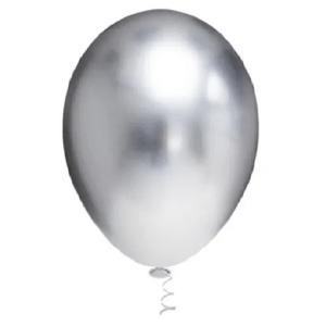 """Balão de Látex Cromado 5"""" com 25 Unidades Prata"""