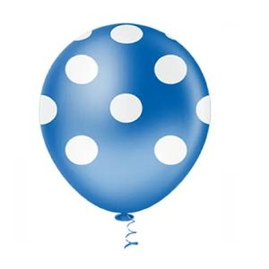"""Balão PIC PIC 10"""" Bolinha Azul Escuro com Branco - Pacote com 25 Unidades"""