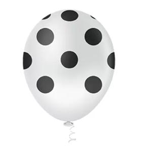 """Balão PIC PIC 10"""" Bolinha Branco com Preto - Pacote com 25 Unidades"""