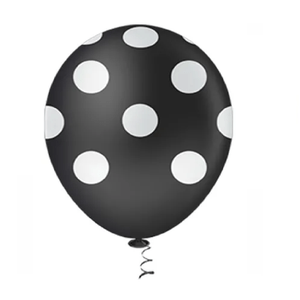 """Balão PIC PIC 10"""" Bolinha Preto com Branco - Pacote com 25 Unidades"""