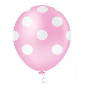 """Balão PIC PIC 10"""" Bolinha Rosa Baby com Branco - Pacote com 25 Unidades"""