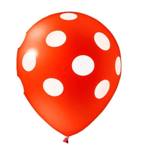 """Balão PIC PIC 10"""" Bolinha Vermelha com Branco - Pacote com 25 Unidades"""
