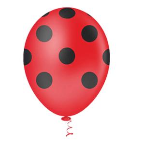 """Balão PIC PIC 10"""" Bolinha Vermelha com Preto - Pacote com 25 Unidades"""