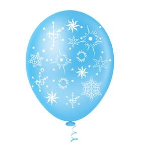 """Balão PIC PIC 10"""" Floco de Neve Azul e Branco - Pacote com 25 Unidades"""