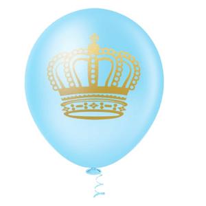 """Balão PIC PIC 10"""" Azul com Coroa Ouro - Pacote com 25 Unidades"""