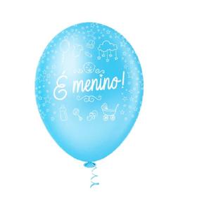 """Balão PIC PIC 10"""" É Menino - Pacote com 25 Unidades"""