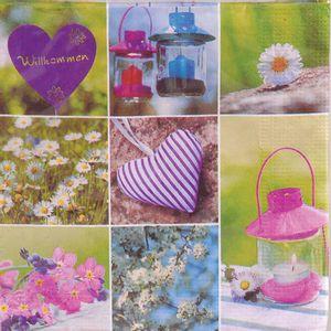 Guardanapo Importado Decorativo 33 x 33cm 3 Folhas com 20 Unidades Flores de Jardim